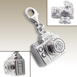 Sterling Silver camera clip on charm
