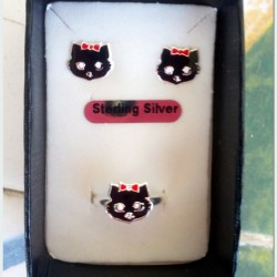 Cat stud earrings ring Set Sterling Silver black