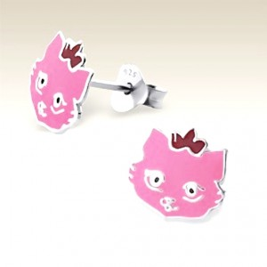Cat stud Earrings Sterling Silver pink