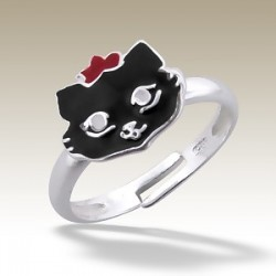 Cat adjustable Ring Sterling Silver black