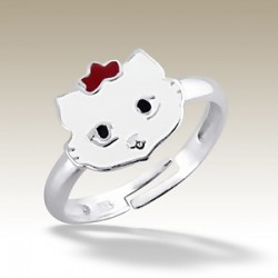 Cat adjustable Ring Sterling Silver white