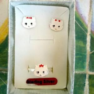 Cat stud earrings ring Set Sterling Silver white