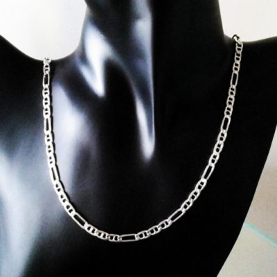 Sterling Silver chain Figaro 31 anchor 5mm 55cm Italy (120F13BEV)