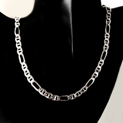 Sterling Silver chain Figaro 31 anchor 7mm Italy