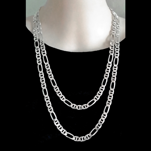 Sterling Silver Chain Figaro 31 Anchor Mariner 7mm 60cm Italy