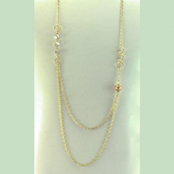 Pearl necklace chain Swarovski GOLDEN SHADOW
