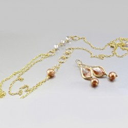 Pearl necklace chain earrings set Swarovski GOLDEN SHADOW
