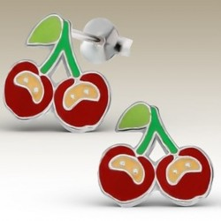 Cherry stud earrings Sterling Silver