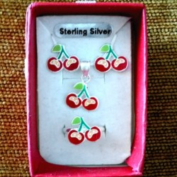 Cherry stud earrings ring pendant Set Sterling Silver