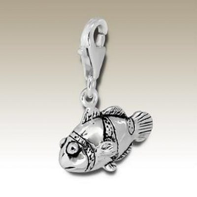Clown Fish clip on charm Sterling Silver