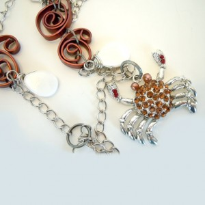 Crab Beach necklace Shells crystal
