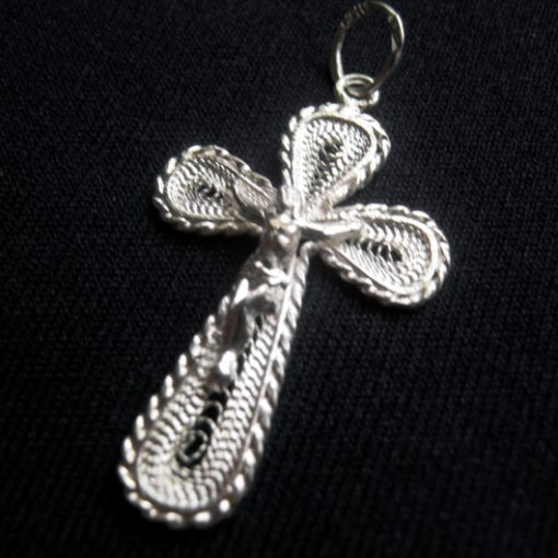 Sterling Silver filigree Crucifix Jesus pendant