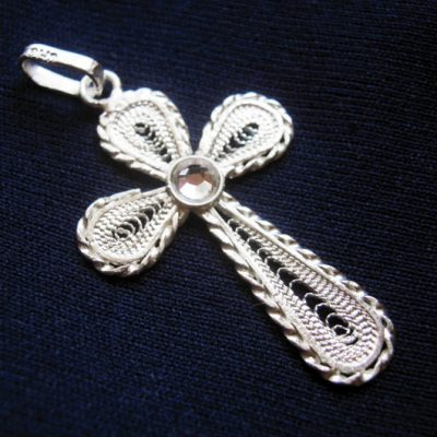 Sterling Silver filigree Cross pendant clear
