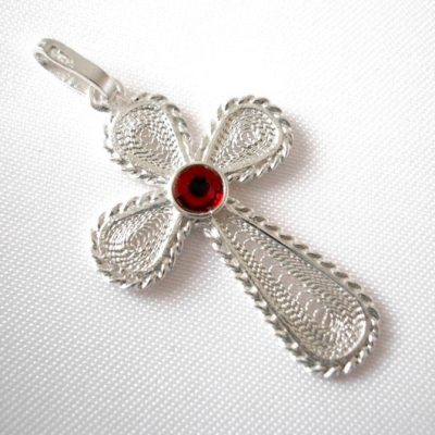 Sterling Silver filigree Cross pendant Red