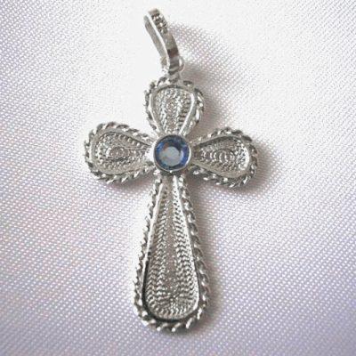 Sterling Silver filigree Cross pendant blue