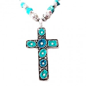 Cross necklace wall art Turquoise
