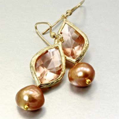 14K gold filled earrings Freshwater Pearls golden bronze