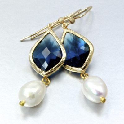 14K gold filled earrings Freshwater Pearls sapphire blue