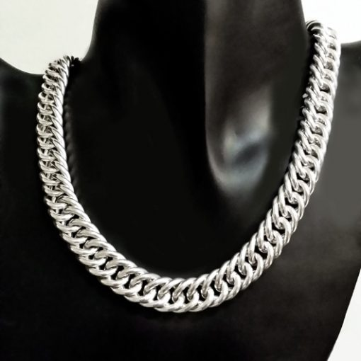 Sterling Silver chain double Curb bevelled 12mm 40cm Italy