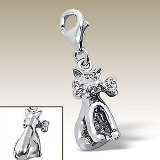 Dog bone 3D clip on charm Sterling Silver