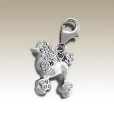 Dog Poodle clip on charm Sterling Silver