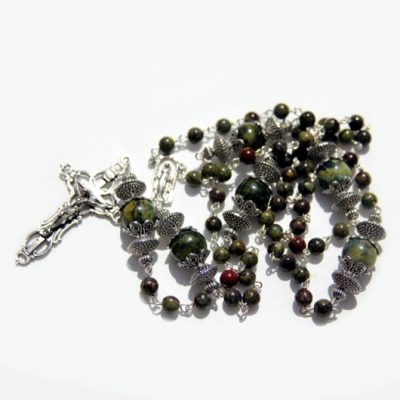 Rosary beads dragons blood Jasper Turquoise