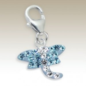 Dragonfly clip on charm Sterling Silver crystal