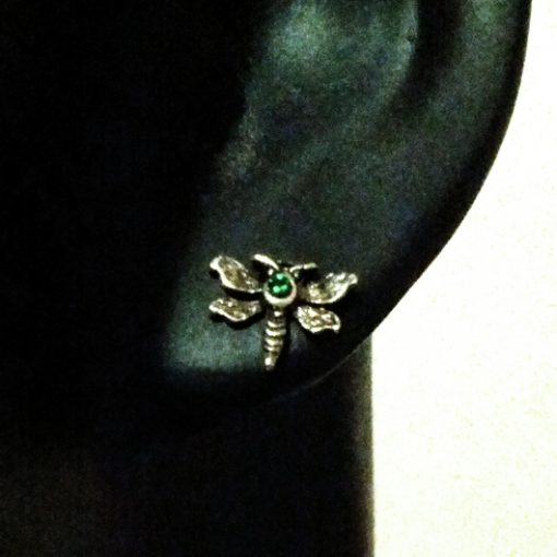 Sterling Silver stud earrings DRAGONFLY green crystal