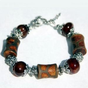 Dzi Heavens bead charm bracelet Carnelian and Agate