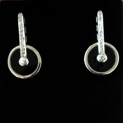 Sterling Silver drop stud earrings black Spinning Wheel