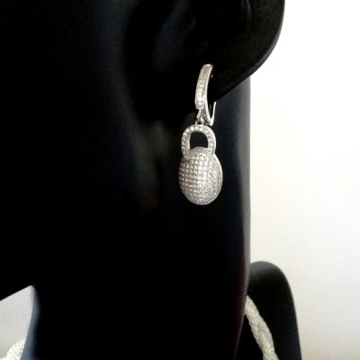 Sterling Silver drop earrings zirconia DOME