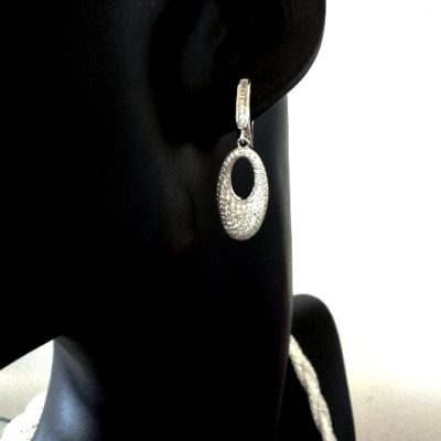 Sterling Silver drop earrings zirconia ELLIPTICAL