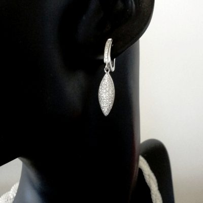 Sterling Silver drop earrings zirconia LONG MARQUIS