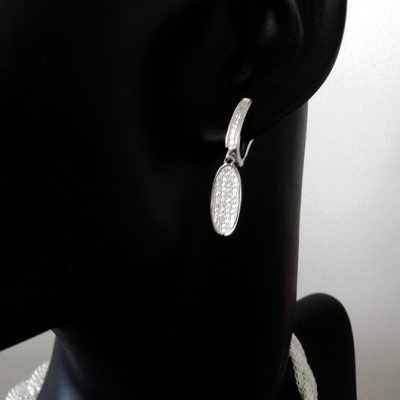 Sterling Silver drop earrings zirconia LONG OVAL