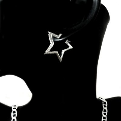 Sterling Silver Earrings hoop Star zirconia 3.5cm