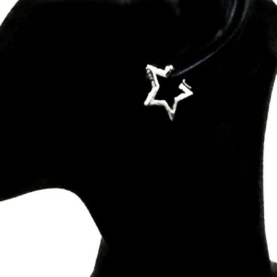 Sterling Silver Earrings hoop Star zirconia 2.5cm