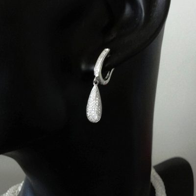 Sterling Silver drop earrings zirconia TEARDROP