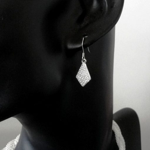 DIAMOND shape Sterling Silver drop earrings zirconia