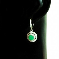 Sterling Silver earrings Green stone