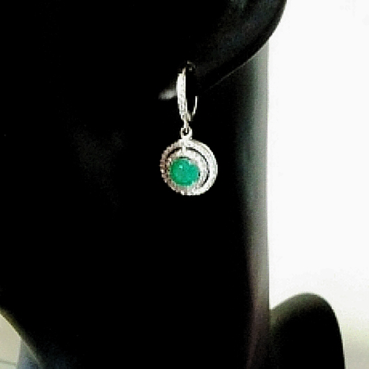 Sterling Silver Earrings Green Stone Pave Set Clear Zirconia