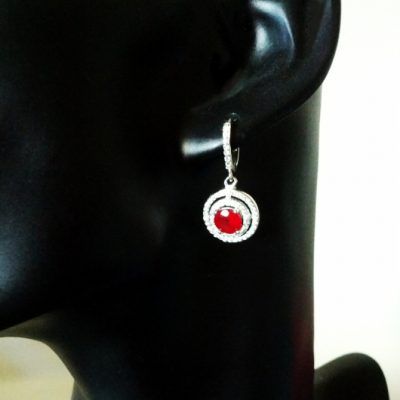 Sterling Silver earrings Red stone