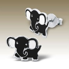 Elephant stud earrings Sterling Silver black