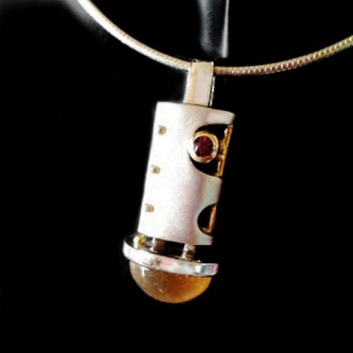 Sterling Silver Enigma pendant Moonstone Ruby Omega chain
