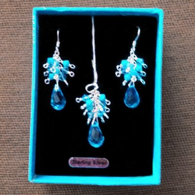 Sterling Silver handmade earrings pendant Set crystal aqua
