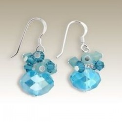 Sterling Silver handmade earrings Crystal aqua blue