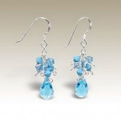 Sterling Silver handmade earrings crystal aqua