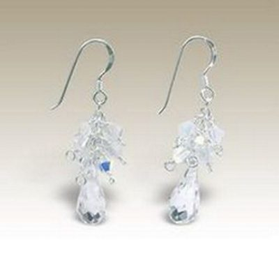 Sterling Silver handmade earrings Crystal clear