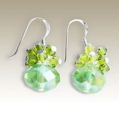 Sterling Silver handmade earrings Crystal peridot