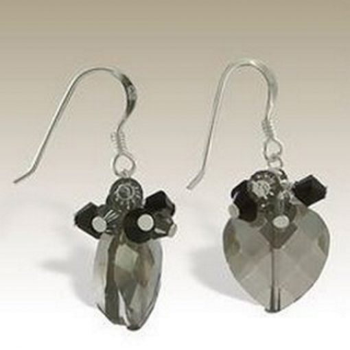 Sterling Silver handmade earrings Austrian Crystal black diamond