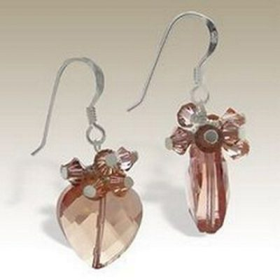 Sterling Silver handmade earrings Austrian Crystal peach